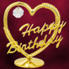 24 Kt Gold Plated Heart Happy B'day Studded with Swarovski Crystals
